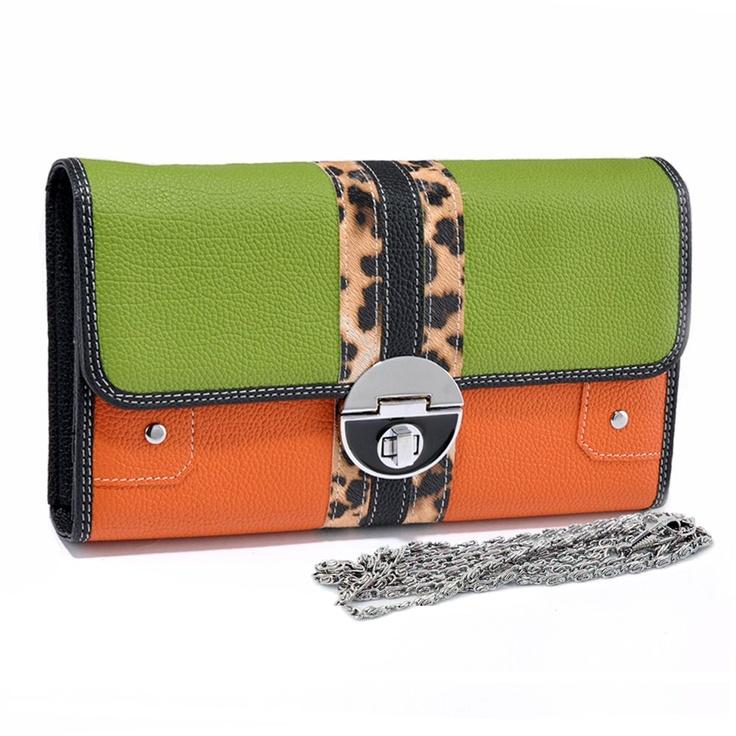 Multicolored Leopard Clutch/Organizer (GN/OR)