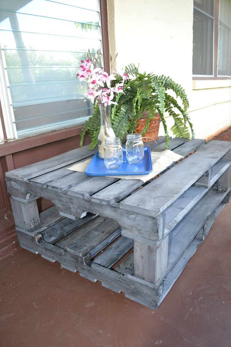 front patio. wood pallet.