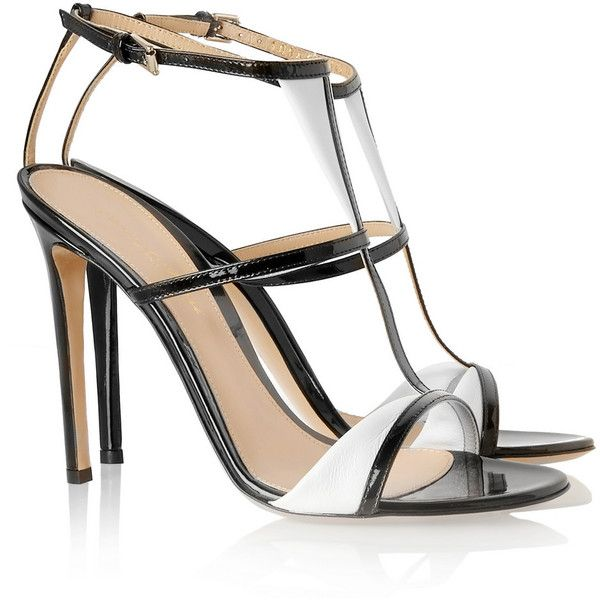 Gianvito Rossi Two-tone patent-leather sandals ($270) ❤ liked on Polyvore featuring shoes, sandals, heels, patent leather shoes, black and white shoes, black and white sandals, high heeled footwear and strap sandals