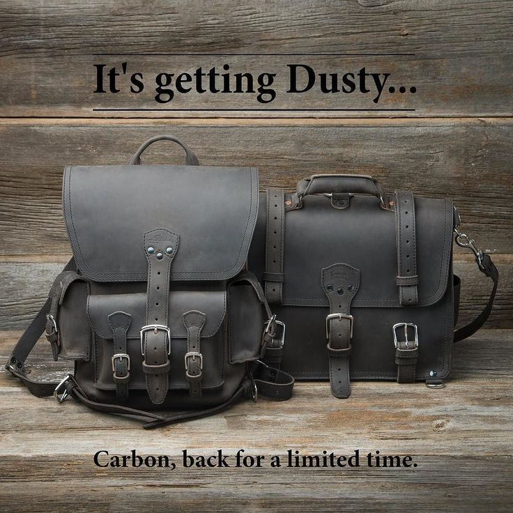 """We were pretty stoked when we found a small stash of """"Dusty"""" leather. So we put it to use and made a handful of Large Classic Briefcases and Thin Front Pocket Backpacks in Carbon! Link in bio. Or hit our website click 'Collections' and select Saddleback Ugly & Limited from the drop down. Have a great weekend! #saddlebackleather"""