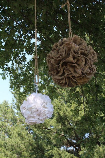 Krista: DIY wedding? We could totally do this. How to make burlap poms