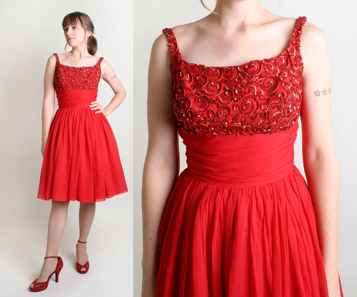 1950s Chiffon Cocktail Dress by Emma Domb - Bright Cherry Red with Sequin Bodice - Medium Homecoming Queen