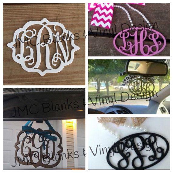 Acrylic Monogram Car Mirror Hanger Decor by JMCBlanks on Etsy