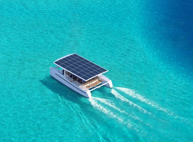 SoelCat 12 electric yacht runs totally under the power of sun