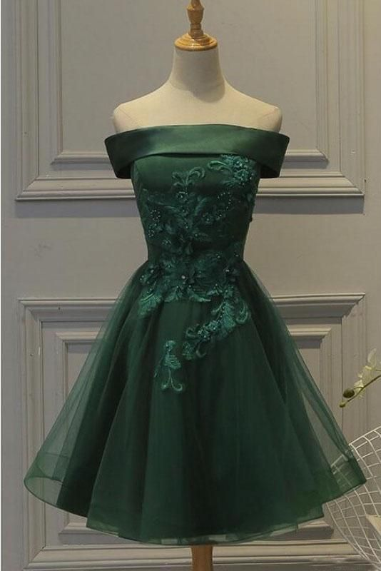 21bcfb40e009 Dark Green Off the Shoulder Tulle Homecoming Dress
