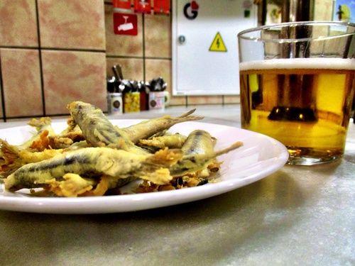 Fried sardines at Los Diamantes in Granada
