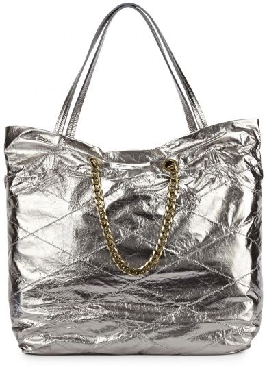 Carry Me medium silver leather tote by Lanvin available at Harvey Nichols