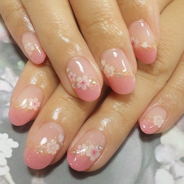 Cherry blossom nails | creme color + pearly pink french + gold glitter line + flower stickers + stones