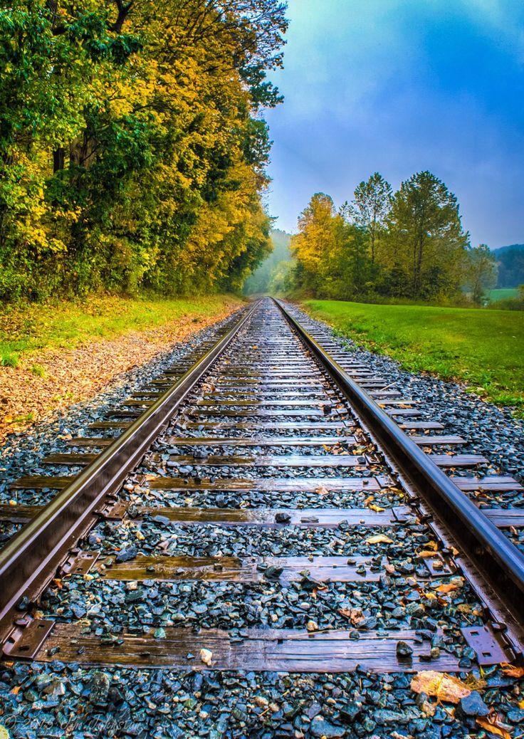 The train tracks at Indigo Lake disappear into the fall colors. Source Facebook.com