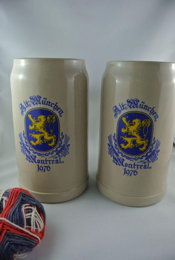 2 German 1 Liter Beer Steins, Alt Munchen, Montreal, 1976 by RiversideMills on Etsy