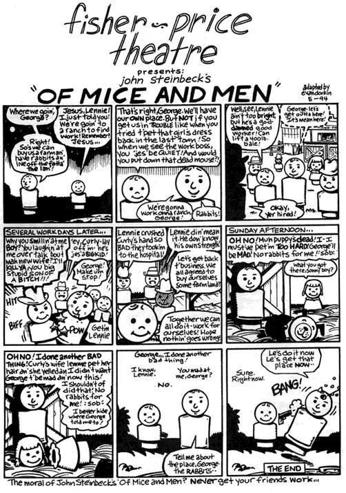 best home school of mice and men images  fisher price theatre of mice men by evan dorkin 1994