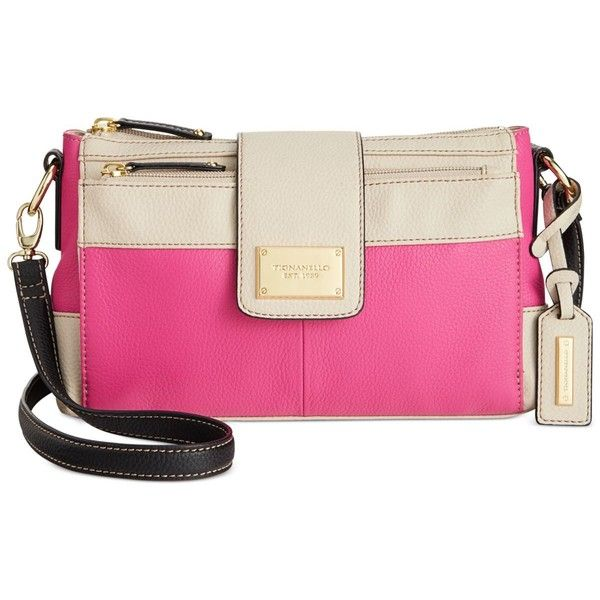 Tignanello Social Status Leather Function Crossbody ($119) ❤ liked on Polyvore featuring bags, handbags, shoulder bags, hollywood, leather purse, genuine leather handbags, tignanello handbags, pink handbags and pink shoulder bag