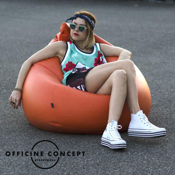 Errea Twenty Five... styled with Tee Trend shorts... http://officineconcept.com/it/donna/2498-canotta-basket-verde-acqua-con-fiori-e-numero-96.html