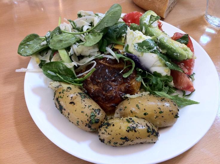 Spiced Vegetable Gratin (partially hidden!), new potatoes, tomato, avocado and mozzarella salad, cucumber, radish, fennel and spinach salad.