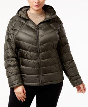 Michael Michael Kors Plus Size Chevron Packable Puffer Coat - Green 3X