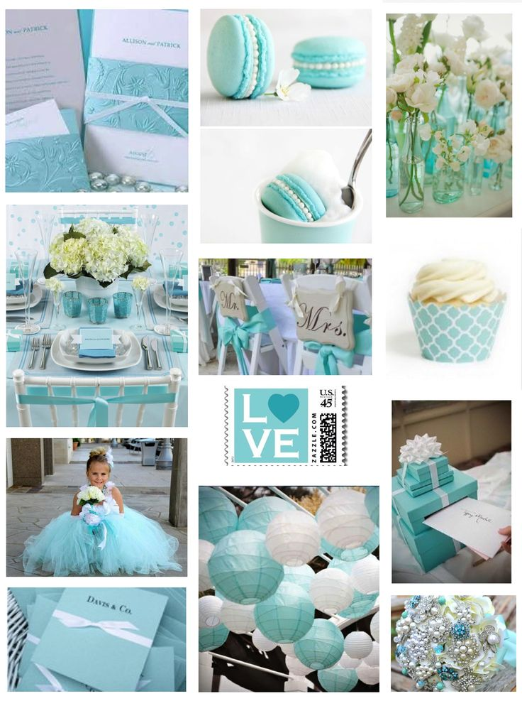 "Tiffany Blue <3 the flower girl's dress, the chinese lanterns, and the ""Mr"" and ""Mrs"" chair backings."
