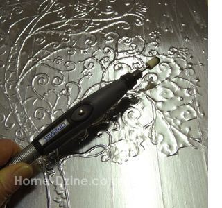 Christmas art using aluminium aluminum tape dremel rotary multitool