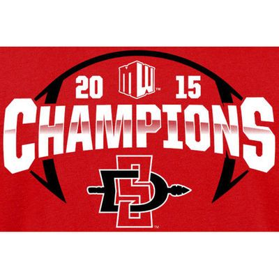 San Diego State Aztecs 2015 Mountain West Conference Football Champions T-Shirt - Cardinal