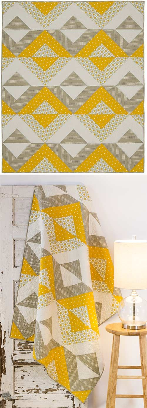 yellow and grey always a winner and like this pattern too - this is a quilt kit but pinning for inspiration, nice clear pic shows block placement :) . . .