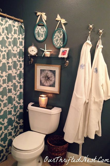 Bathroom Decor: Glamorous Small Gray and Blue Bathroom with Spa Decor