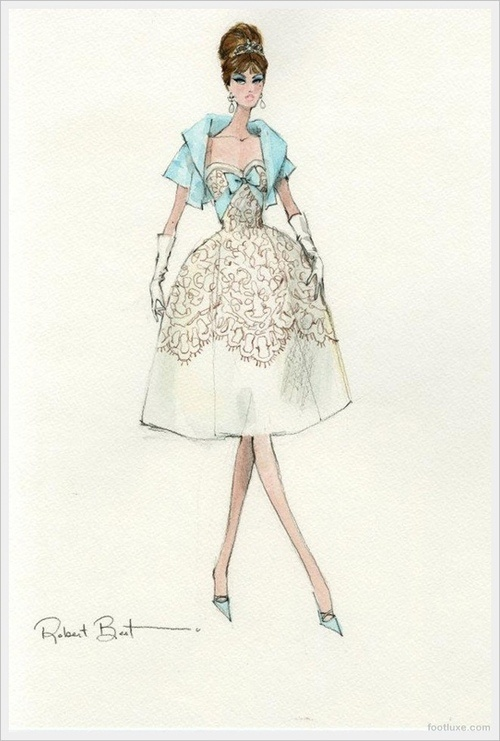 Pretty Lacy Cream Cocktail Dress w/ Turquoise Jacket Fashion Sketch