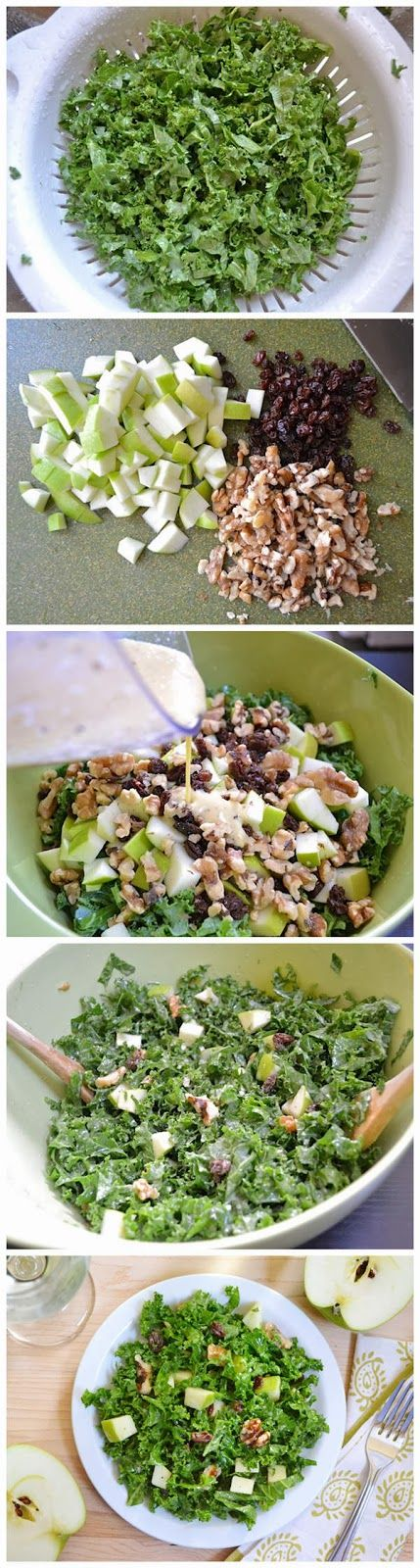 Apple Dijon Kale Salad - heaven in a bowl! PLEASE NOTE THAT THIS RECIPE SHOULD READ: 1/4 cup GOLDEN raisins, 1/3 cup olive oil and 1/4 cup vinegar, and I/2 cup walnuts! Sorry for the error!