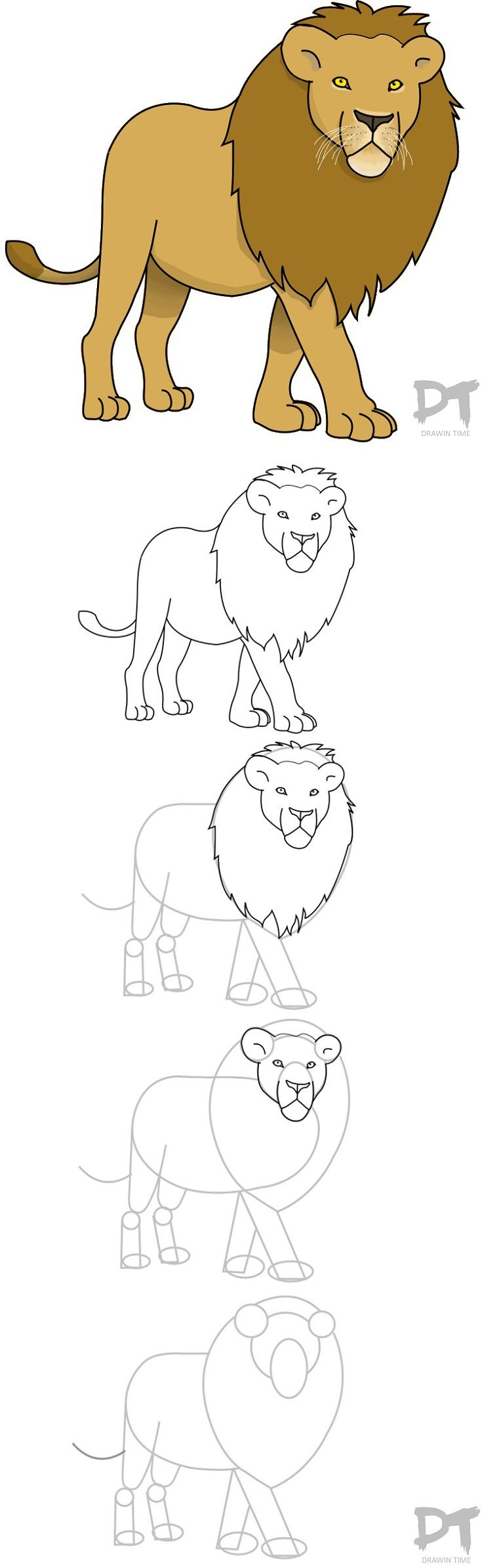 Tutorial: How to draw a Lion in 16 EASY steps  http://drawintime.com/how-to-draw-a-lion/
