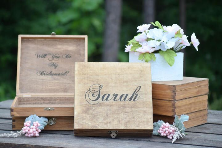 Etsy Will You Be My Bridesmaid Box Bridal Party Gift Bridesmaid Present Rustic Wedding Decor Bridal Party #Promotion… #PaidAd #ad #affiliatelink