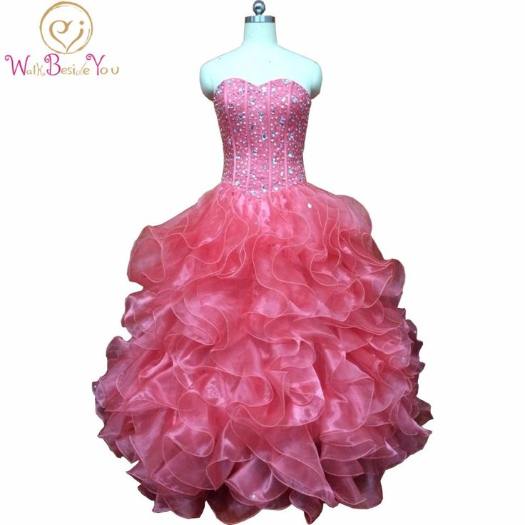 >> Click to Buy << Real Picture Vestidos De Debutante 15 Anos Watermelon Quinceanera Dresses Party Puffy  Beaded Cascading Ruffle Dress with Jacket #Affiliate