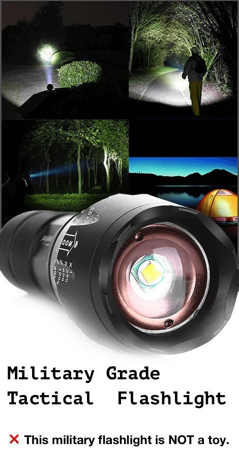 8000lm Tactical Flashlight Military Grade Torch + Battery