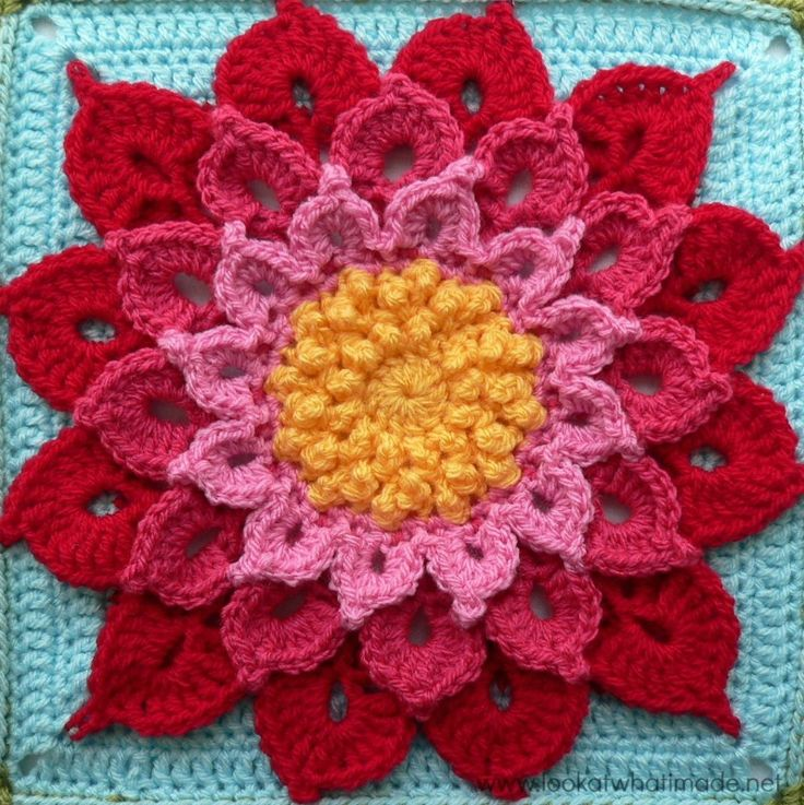 Crochet Crocodile Stitch Flower Square | AllFreeCrochetAfghanPatterns.com