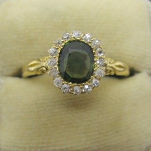 Green Sapphire and Diamond engagement ring