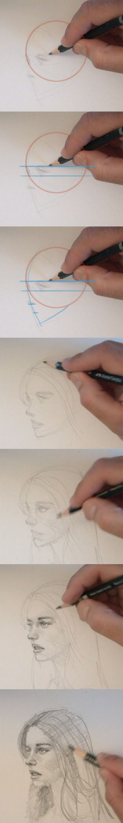 learn to draw people face Drawing people face side view