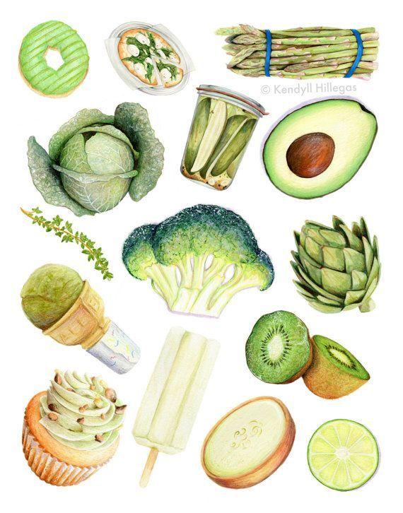 Green Foods Chart // Food Illustration // Archival Quality Print, Wall art