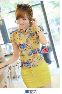 Fun Orange Nice floral print chiffon blouse women new casual short-sleeve slim ladies shirt blouse top 3 colors M/L/XL/XXL