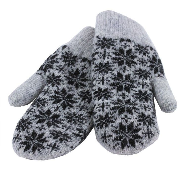 Women Gray with Black Snowflake Mittens Wool Blend Lined One Size Fits Most NWT #Simi #Mittens #Everyday