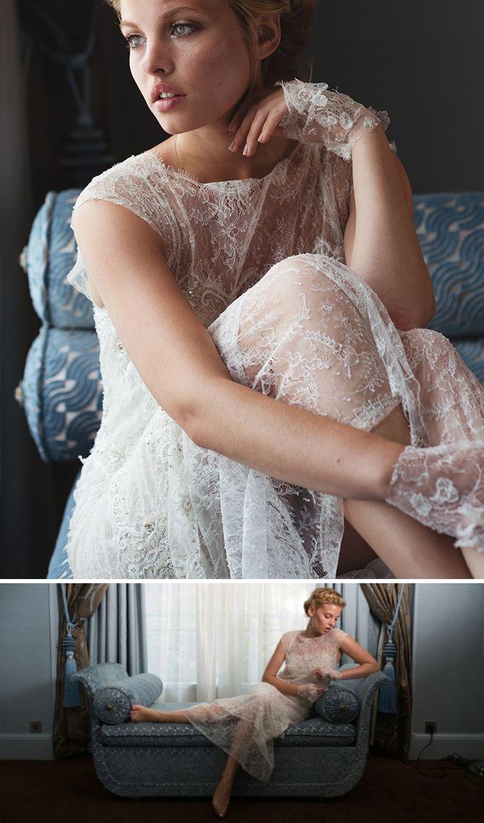 Modèle Shangaï en dentelle de Calais brodée, robe de mariée fluide et rétro.