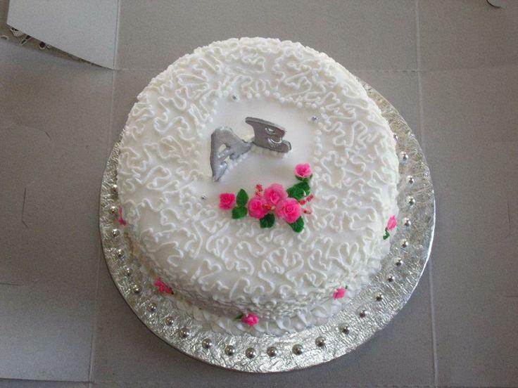 3 Tier pink top wedding cake