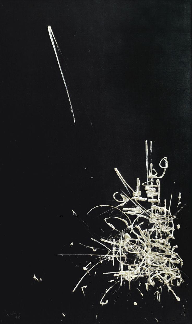 Georges Mathieu (French, 1921-2012), Traité du Duc de Bourgogne et de la Duchesse de Luxembourg, 1958. Oil on canvas, 162.5 x 97.5 cm.