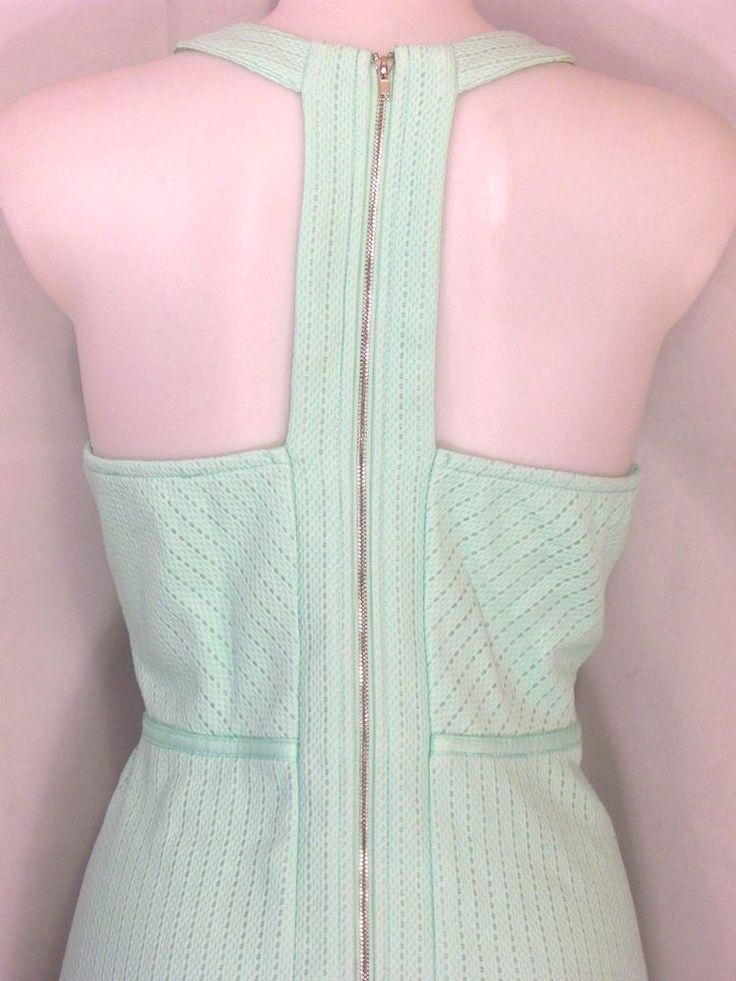 L 11~Miami~Green Dot Textured Knit Sun Dress~Skater~Fit n Flare~Racerback~Retro #Miami #FittoFlareSundress #Casual