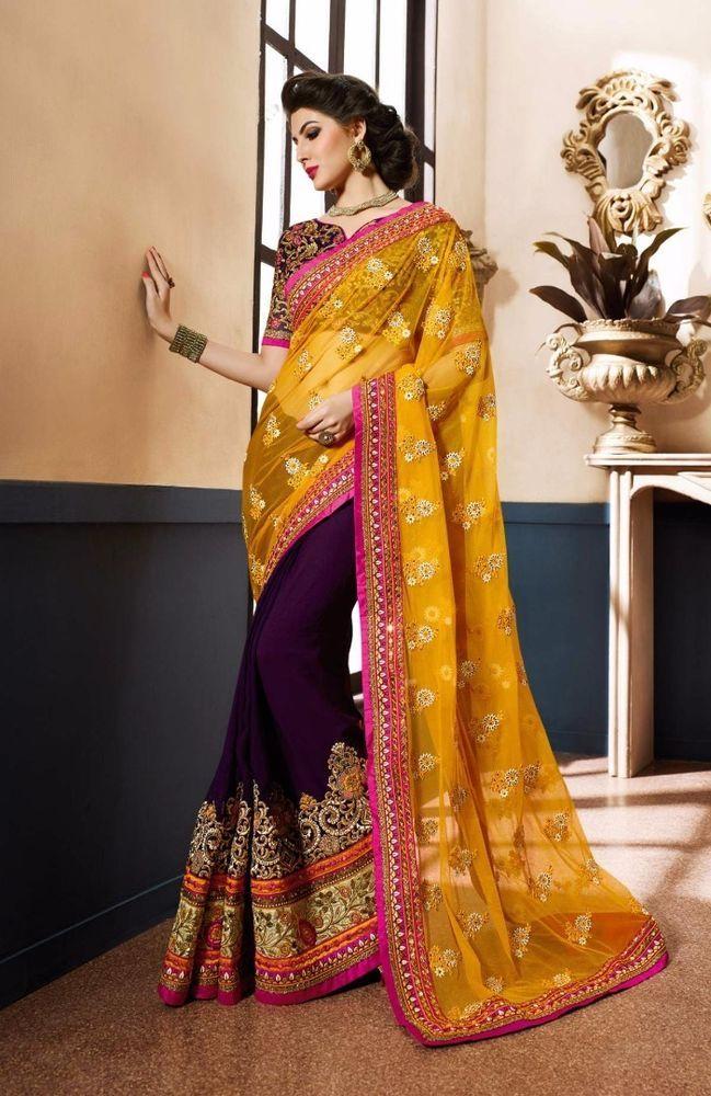Indian bollywood saree designer blouse fancy border dress georgette sari fabric #Designer #SariSaree #WeddingEid