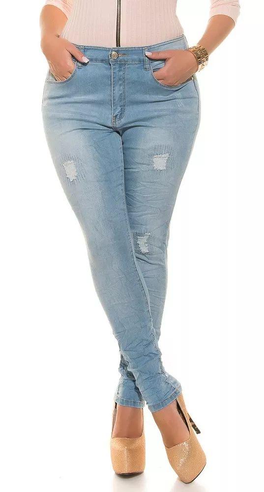 Trendy skinny džíny s prodřeným vzhledem. Džíny od velikosti 40 až 48!