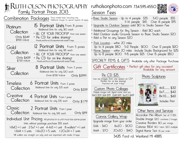 8 best Photography marketing images on Pinterest Photography - price list sample pdf