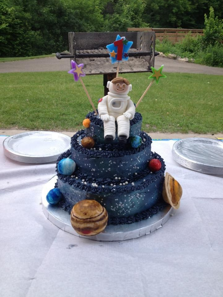 Outer space birthday cake kids parties pinterest for Outer space cake design
