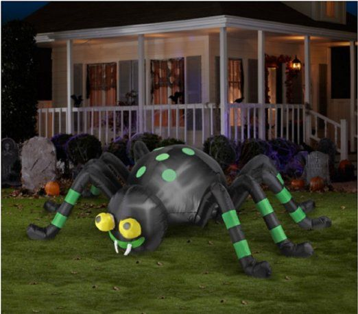 Halloween Inflatable 8' Animated Spider with Spinning Eyes By Gemmy