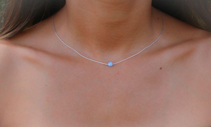 Opal-Collier Opal Kugel Halskette Opal Silber von miniLALI auf Etsy