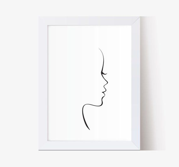 Custom Portrait , Personalized Portrait Line Drawing, Gift ideas for her, Wall decor print, Valentine's Day Gift, Beauty face – mareikewarmbol1