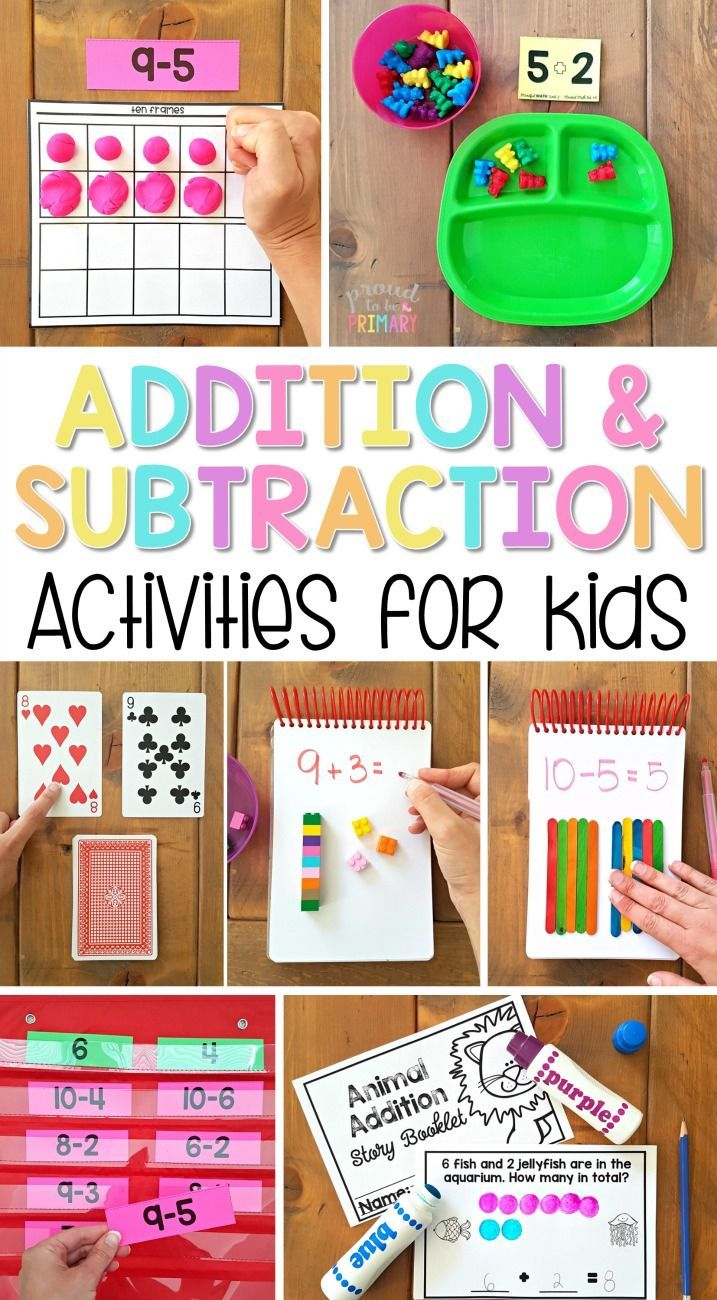The ultimate spot for addition and subtraction to 20 activities for kids in Kindergarten and first grade. Tons of ideas and resources to teach children strategies for building math fact fluency, ways to solve word problems, and activities and games kids will love! A FREE printable addition equation sort activity is included!  via @proud2beprimary