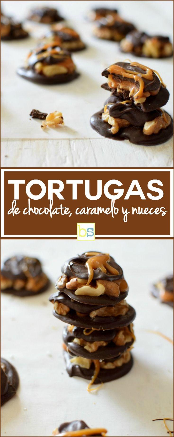 Una golosina fácil de preparar y muy rápida ademas, tortugas de chocolate con caramelo y nueces, excelente para hacer una regalo, recuerdos de fiestas y más. En bizcochosysancochos.com