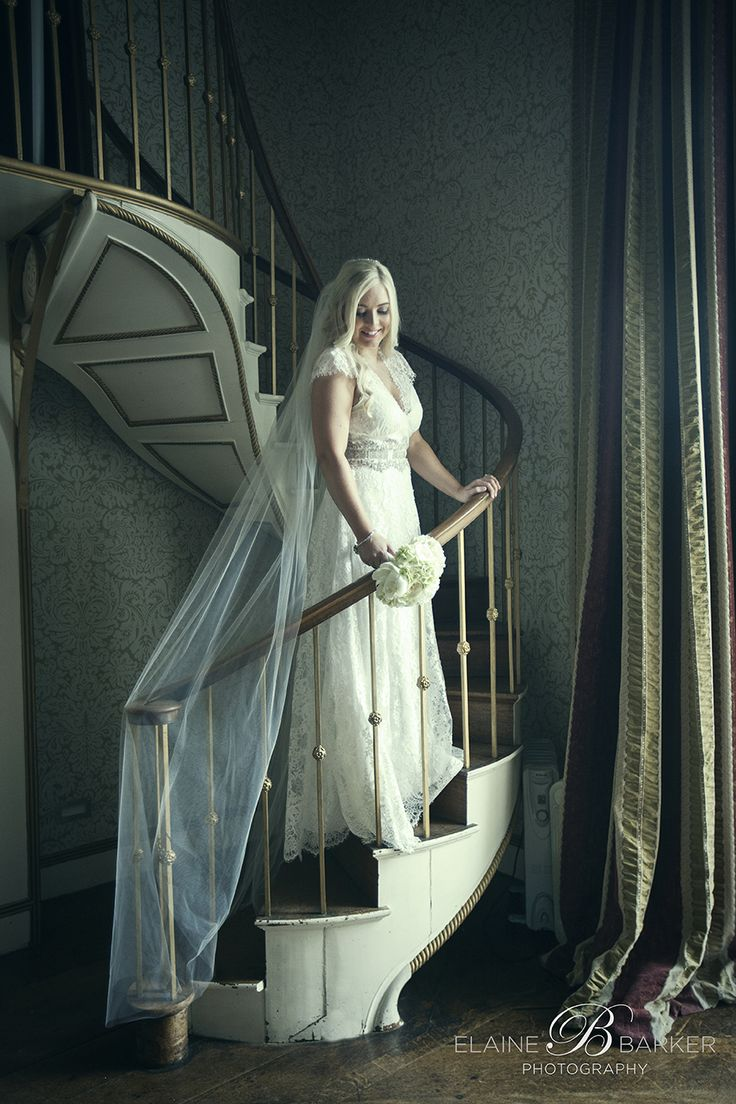 Beautiful Lynne on her wedding day in the library of Carton House.
